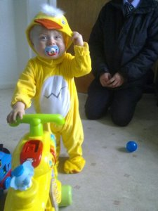 Toddler in a duck costume